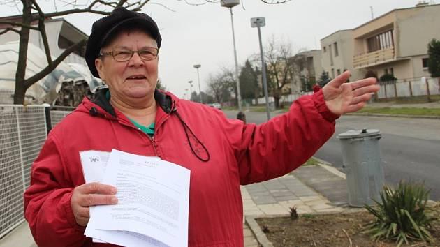 Lidé v Kozlovicích sepsali petici. Chtějí opravit poničenou vozovku i chodníky v ulici Na Zábraní. Na snímku je organizátorka petice Oldřiška Kužílková.
