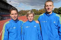 Sportovci SK Salix Grymov, zleva Petr Vymazal, Jarmila Palíšková a Petr Kučera