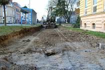 Stavba nové cyklostezky v Palackého ulici v Přerově, 18. října 2021