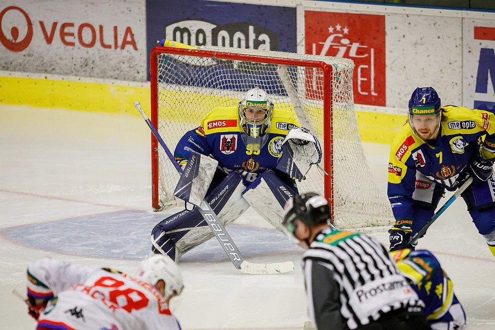 Hokejisté Přerova (v modrém) ve čtvttfinále play-off proti Porubě. Michael Petrásek