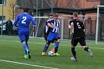 Fotbalisté SK Hranice (v pruhovaném) porazili Kozlovice 1:0.