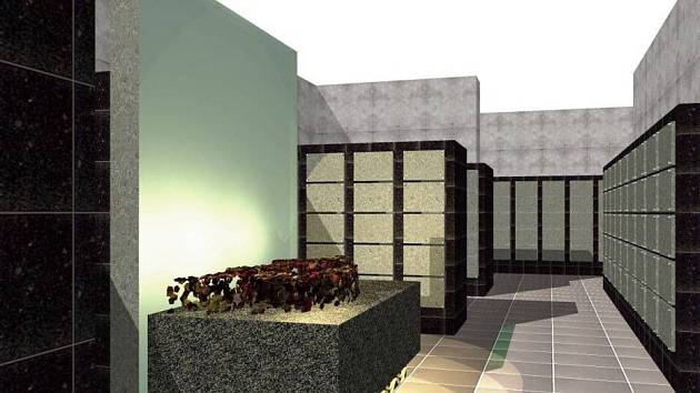 Vizualizace nové podoby kolumbária v prostorách staré obřadní síně na městském hřbitově v Přerově