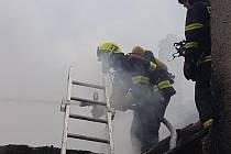 Požár rodinného domu v Brodku u Přerova