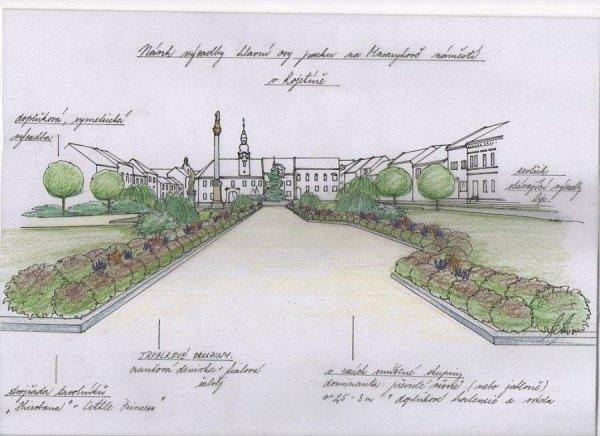 Návrh výsadby hlavní osy parku na Masarykově náměstí vKojetíně, který vypracovala zahradní architektka Anna Acostová