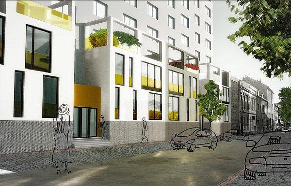 Vizualizace studentského návrhu proměny panelového domu. Klikněte pro zvětšení