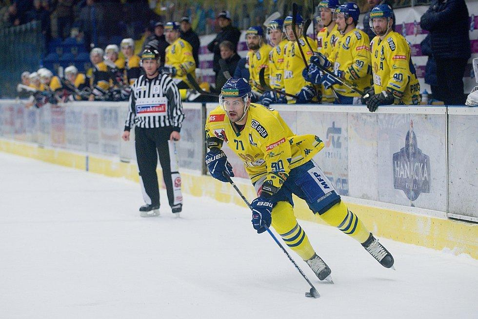 Hokejisté Přerova (ve žlutém) sestřelili Kadaň 8:2. Lubomír Malina. Foto: Deník/Jan Pořízek