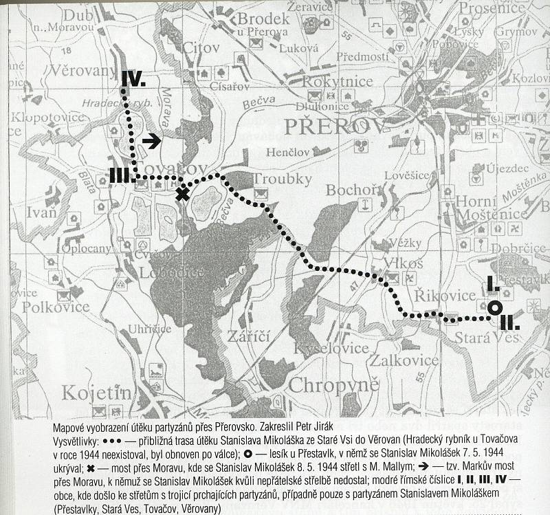 Vyobrazení útěku partyzánů přes Přerovsko - 7. - 10. května 1944