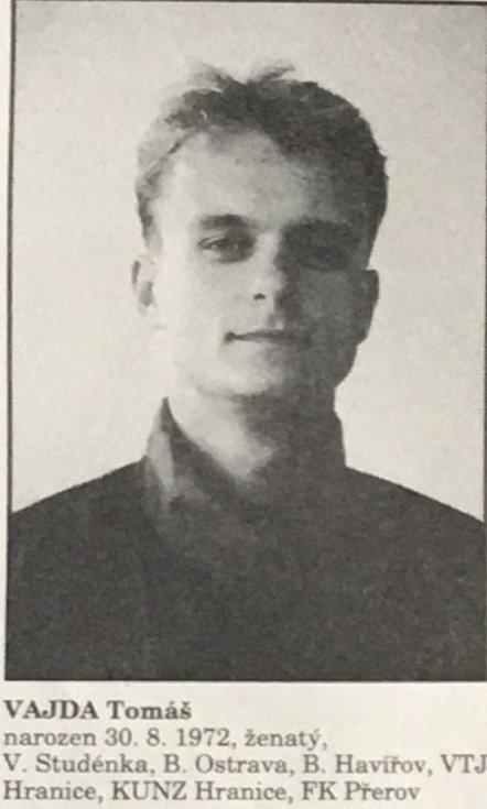 Tomáš Vajda na klubové soupisce v Novém Přerovsku v roce 1996.