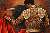 Obraz Torero s býkem extravagantní třicetileté umělkyně Adély Taş, jejíž vernisáž pořádá Galerie města Přerova v neděli 4. listopadu od 17 hodin