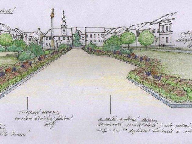 Návrh výsadby hlavní osy parku na Masarykově náměstí v Kojetíně, který vypracovala zahradní architektka Anna Acostová