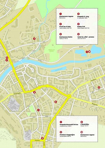 Mapa Pivního maratonu vPřerově