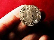 Třicet mincí z období třicetileté války našel Martin Skříček v lese u Dřevohostic.