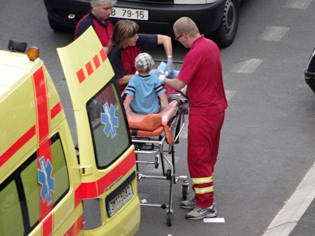 Nehoda chlapce a mazdy v Předmostí