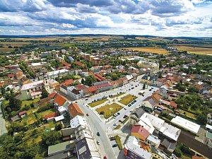 Město Kojetín. Letecký pohled
