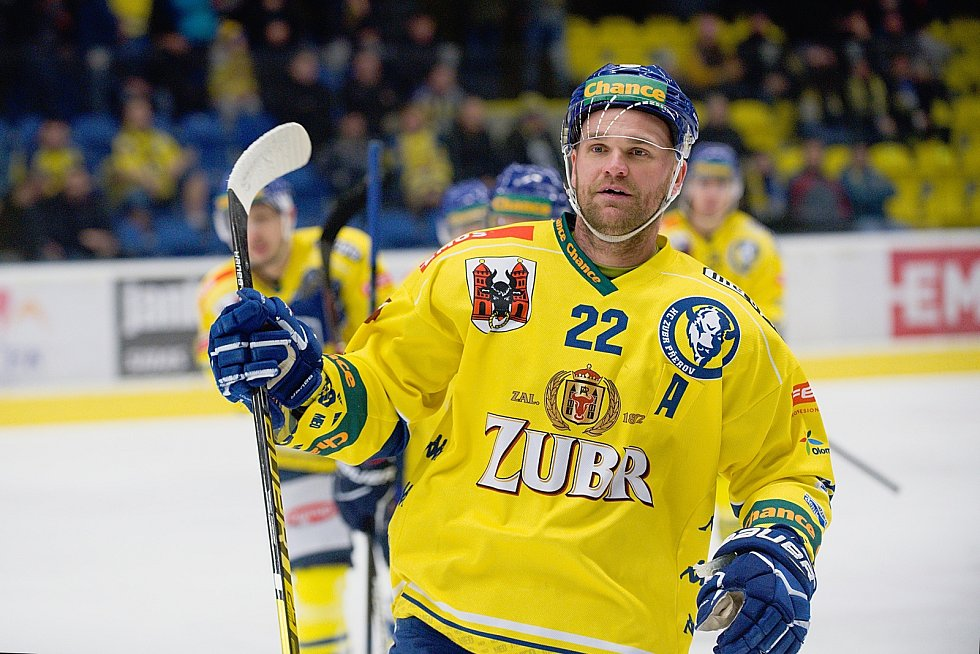 Hokejisté Přerova (ve žlutém) sestřelili Kadaň 8:2. Radomír Pala. Foto: Deník/Jan Pořízek