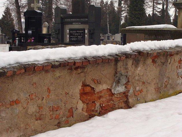 Rekonstrukce se konečně dočká ohradní zeď městského hřbitova