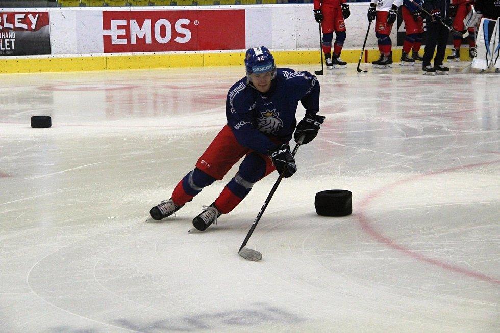 Česká hokejová reprezentace na úterním tréninku seznamovacího kempu v Přerově.