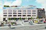 Návrh nového magistrátu na náměstí TGM v Přerově, který skončil na 4. místě - autorem je studio LIBRE (Praha).