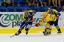 Hokejisté Přerova (v modrém) v přípravě na sezonu 2017/2018 proti Vsetínu.