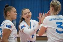 Volejbalistky Přerova (v bílém) proti Liberci. Veronika Boudová