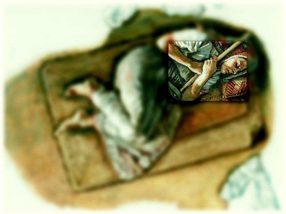 Kresebná rekonstrukce hrobu tajemné ženy, nalezeného v pravěké osadě Hlinsko na Lipnicku.