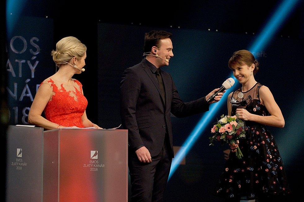 Linda Nosková na pódiu. Galavečer k anketě Zlatý kanár 2018 v hale TJ Spartak Přerov.