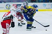 Hokejisté Přerova (v modrém) ve čtvrtém zápase předkola play-off WSM ligy proti Prostějovu zvítězili 4:2 a slavili postup. Milan Procházka.