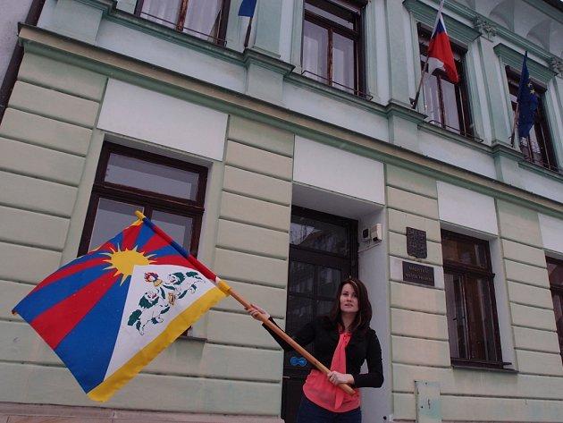 Vlajka pro Tibet v Přerově