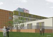 Vizualizace toho, jak bude vypadat po rekonstrukci budova bývalého Chemoprojektu v Přerově. V prostorách vznikne centrum pro pacienty s Alzheimerovou chorobou.