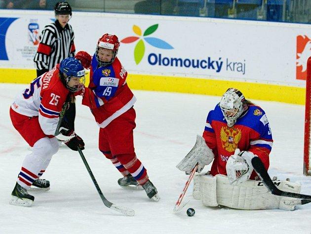 Česko - Rusko. MS hokejistek do 18 let v Přerově