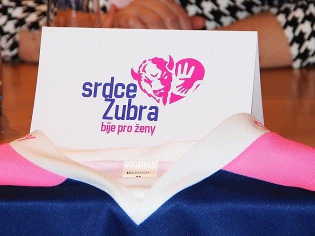 """Přerovský hokejový klub uspořádal tiskovou konferenci k vydařené charitativní akci """"Srdce Zubra bije pro Ženy"""", při níž vybral přes 100 000,– Kč pro organizaci Mamma HELP. Ta pomáhá v boji s rakovinou prsu."""