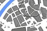 Stavba průpichu: velikost bloku kolem Juty a pivovaru vůči měřítku města