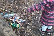 Malá laguna, kam chodí na vycházky rodiče s malými dětmi, je v poslední době plná odpadků.