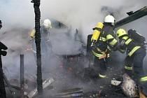 Požár dřevěné kůlny v Hranické ulici v Přerově