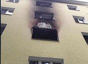 Požár bytu v panelovém domě v Přerově.