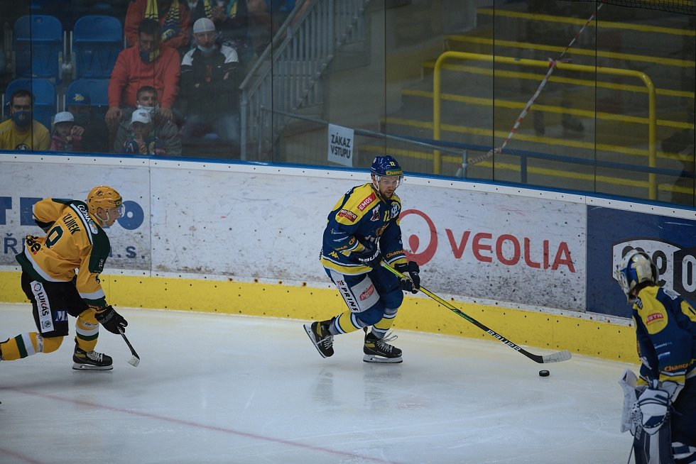 Hokejisté Přerova (v modrém) proti Vsetínu.