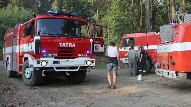 Hasiči zasahují u požáru lesa u Loučky