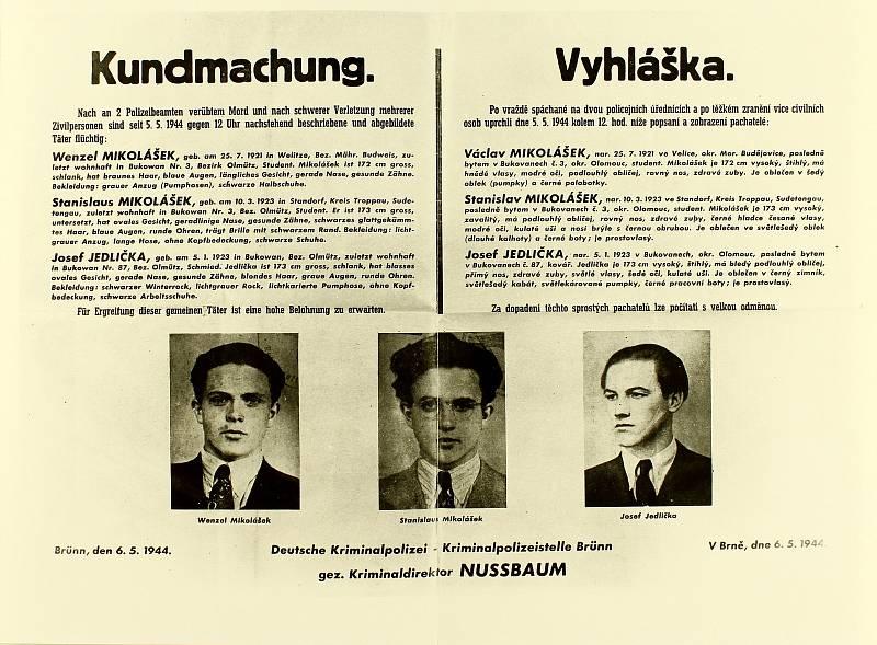 Vyhláška z pátrání po Mikolášcích a Jedličkovi z května 1944.