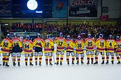Hokejisté ČEZ Motoru slaví v Přerově postup do semifinále play off WSM ligy.