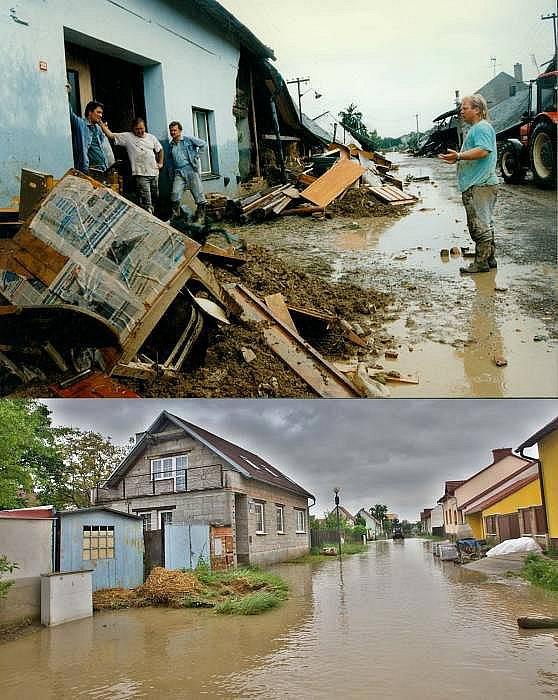 Troubky, ulice Loučky III - 12. července 1997 (nahoře) a 19. května 2010