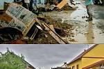 Troubky, ulice Loučky III: 12. července 1997 (nahoře) a 19. května 2010