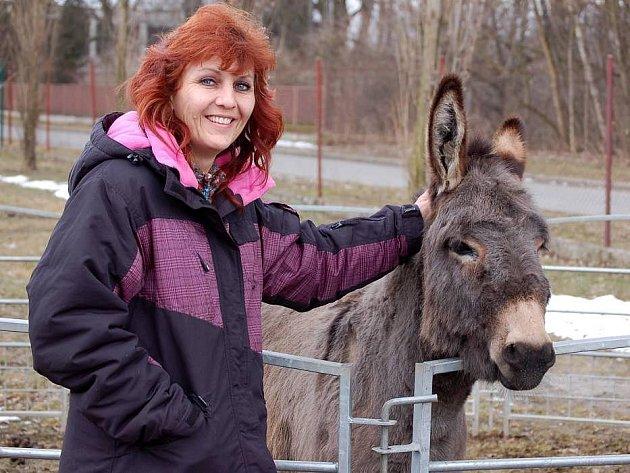 Olga Berousková s cirkusovým oslíkem