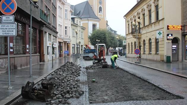 Opravy Kratochvílovy ulice v centru Přerova