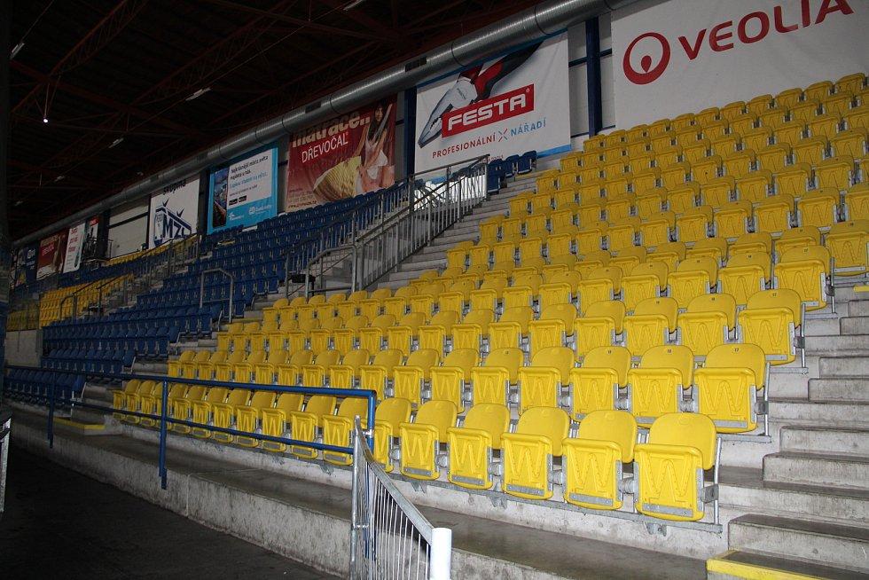 Hlediště přerovského zimního stadionu v únoru 2021