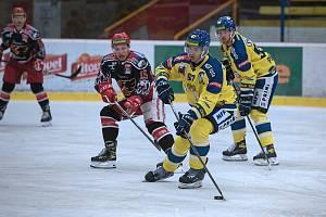 Přípravné utkání mezi hokejisty Prostějova a Přerova (ve žlutém).