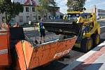 Práce v uzavřené Polní ulici v Přerově, 25. července 2019