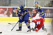 Hokejisté HC Zubr Přerov (v modrém) proti Frýdku-Místku (1:3). Jan Berger.