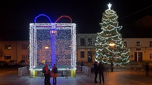 Vánoční náměstí v Přerově. 30. listopadu 2020