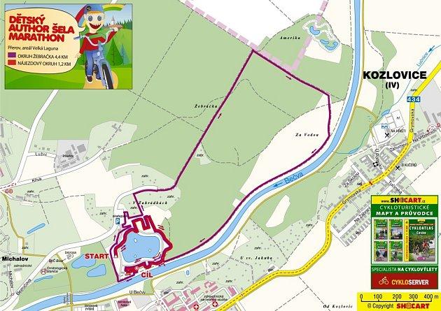 Mapka dětské tratě Author Šela Marathonu 2015