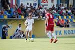 Benefiční fotbalové utkání v Kozlovicích mezi výběrem Kopaček (v bílém) a Hokejek (v červeném